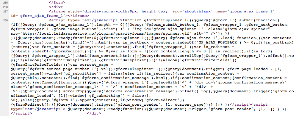 Gravity Forms inline JavaScript